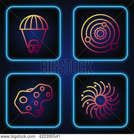Set Line Black Hole, Asteroid, Planet Saturn And Solar System. Gradient Color Icons. Vector