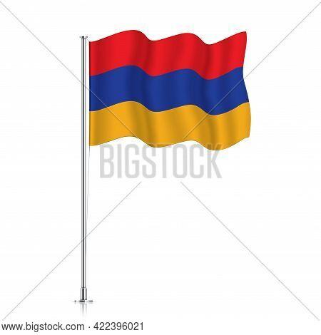 Armenia Flag Waving On A Metallic Pole.