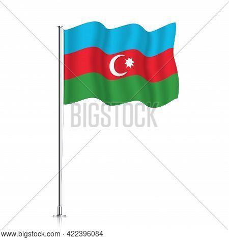 Azerbaijan Flag Waving On A Metallic Pole.