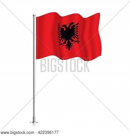 Albania Flag Waving On A Metallic Pole.