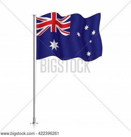 Australia Flag Waving On A Metallic Pole.