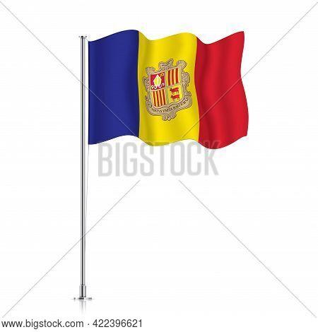 Andora Flag Waving On A Metallic Pole.