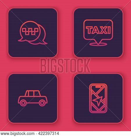 Set Line Taxi Call Telephone Service, Car, Location With Taxi And City Map Navigation. Blue Square B