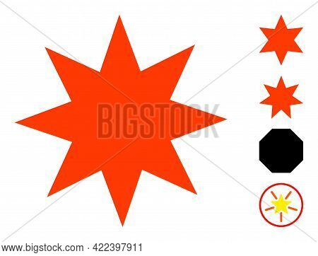 Eight Pointed Star Icon Designed In Flat Style. Isolated Vector Eight Pointed Star Icon Image On A W