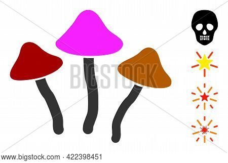 Psychedelic Mushrooms Icon Designed In Flat Style. Isolated Vector Psychedelic Mushrooms Icon Image
