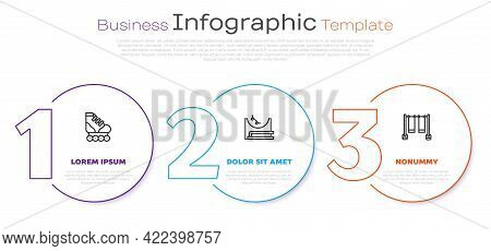 Set Line Roller Skate, Skate Park And Double Swing. Business Infographic Template. Vector