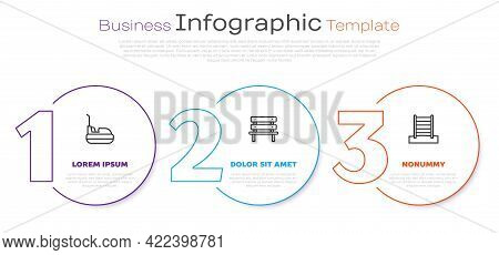 Set Line Bumper Car, Bench And Swedish Wall. Business Infographic Template. Vector