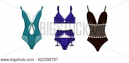 A Collection Of Elegant Lingerie Or Sexy Lingerie. Set Of Female Underwear Isolated On White Backgro