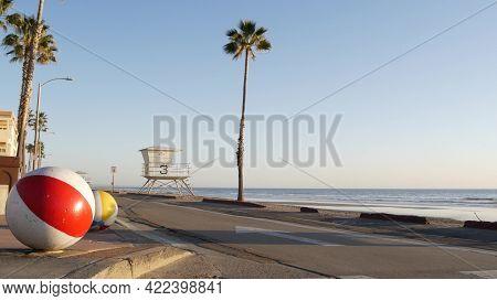 Pacific Ocean Beach, Oceanside California Usa. Ball, Lifeguard Tower, Life Guard Watchtower Hut And