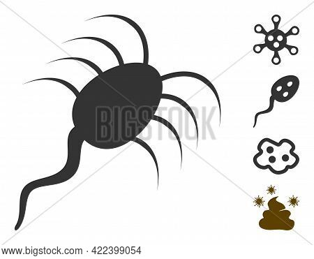 Infection Microbe Icon With Flat Style. Isolated Vector Infection Microbe Icon Image On A White Back