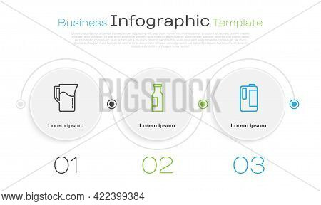 Set Line Milk Jug Or Pitcher, Bottle With Milk And In Plastic Bottle. Business Infographic Template.