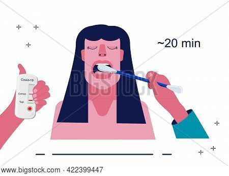 Coronavirus Rapid Antigen Or Pcr Test.cotton Swab With Saliva Sample.woman Opens Her Mouth For Resea