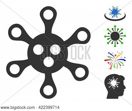 Virus Icon Designed In Flat Style. Isolated Vector Virus Icon Image On A White Background, Simple St