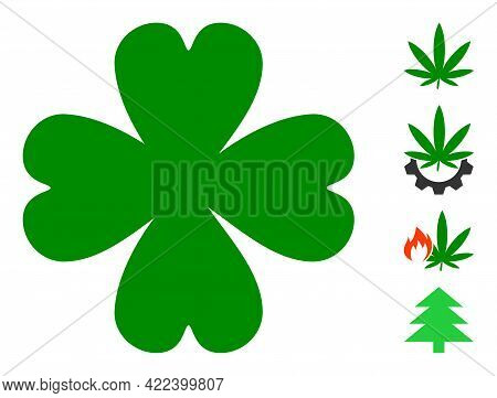 Four Leaf Clover Icon With Flat Style. Isolated Vector Four Leaf Clover Icon Illustrations On A Whit