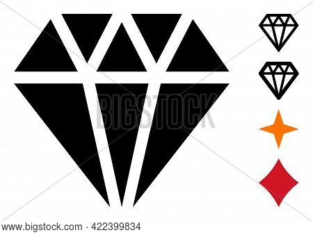 Adamant Crystal Icon With Flat Style. Isolated Vector Adamant Crystal Icon Illustrations On A White