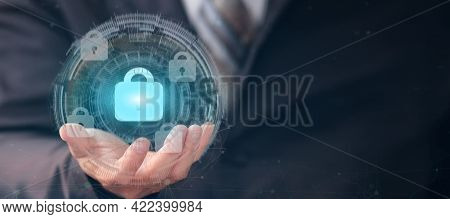 Businessman Holding Padlock Protecting Business And Financial Data With Virtual Network Connection,