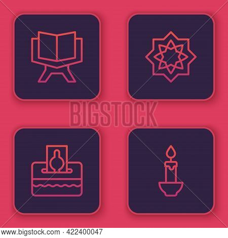 Set Line Holy Book Of Koran, Donate Pay Your Zakat, Octagonal Star And Burning Candle. Blue Square B