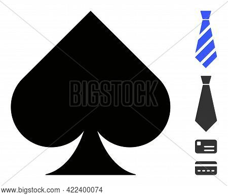 Playing Card Spade Suit Icon Designed In Flat Style. Isolated Vector Playing Card Spade Suit Icon Il