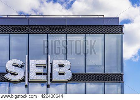 Seb Bank Logo On Seb Bank Head Office Building On 30 May 2021 In Vilnius, Lithuania. Seb Bank Is Com