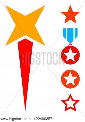 Starting Star Icon Designed In Flat Style. Isolated Vector Starting Star Icon Illustrations On A Whi