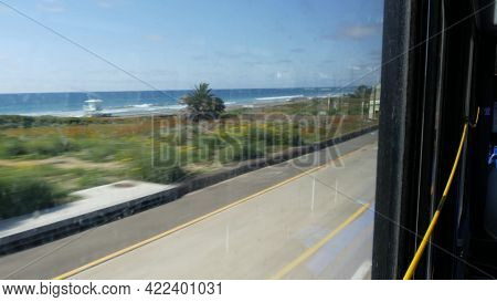 View From Bus Window, Pacific Coast Highway 1, Freeway 101 Historic Route, California Usa. Road Trip
