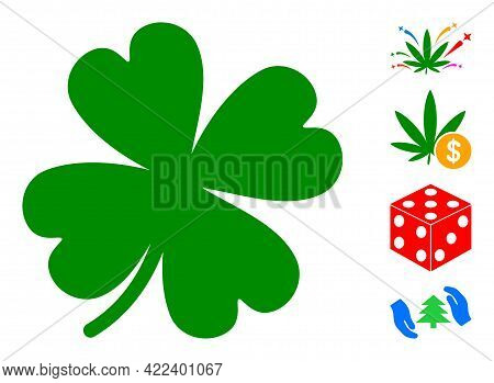 Lucky Clover Leaf Icon Designed In Flat Style. Isolated Vector Lucky Clover Leaf Icon Illustrations