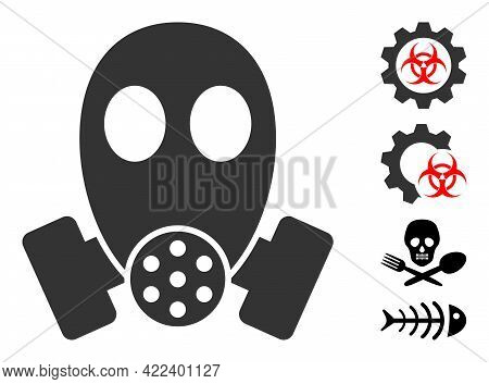 Gas Mask Icon Designed In Flat Style. Isolated Vector Gas Mask Icon Image On A White Background, Sim