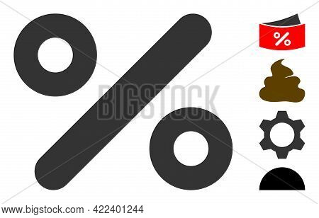 Percent Icon With Flat Style. Isolated Vector Percent Icon Image On A White Background, Simple Style