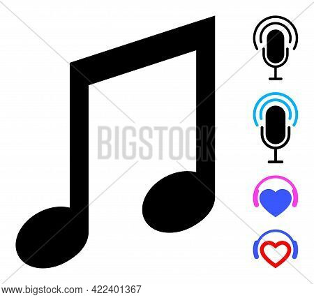 Music Notes Icon With Flat Style. Isolated Vector Music Notes Icon Illustrations On A White Backgrou