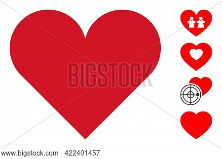 Playing Card Heart Suit Icon With Flat Style. Isolated Vector Playing Card Heart Suit Icon Image On