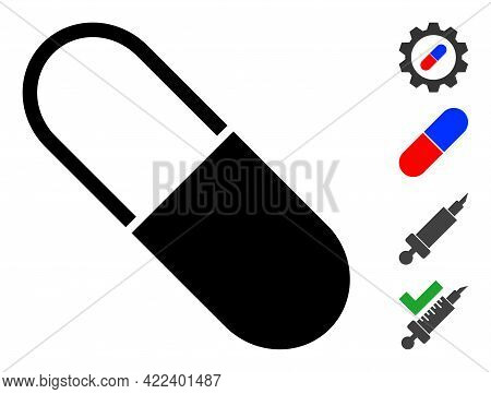 Medical Capsule Icon Designed In Flat Style. Isolated Vector Medical Capsule Icon Image On A White B