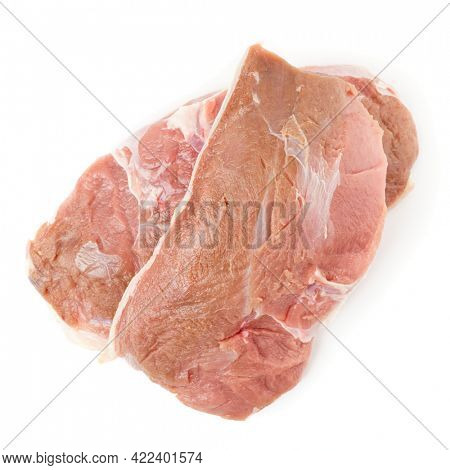 Two raw duck breast fillets isolated on white background