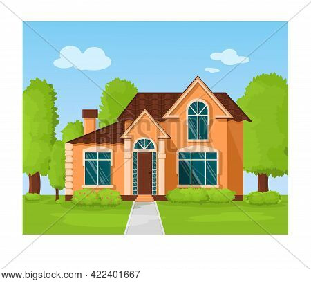 Large Orange House With Large Windows Outside In The Summer. Bushes Near The House With Flowers. Cou