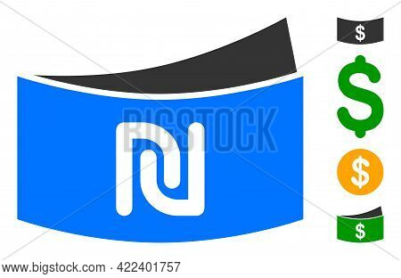 Shekel Banknote Icon With Flat Style. Isolated Vector Shekel Banknote Icon Image On A White Backgrou