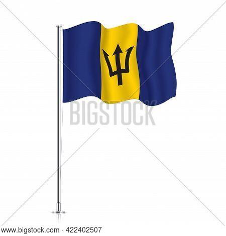 Barbados Flag Waving On A Metallic Pole.