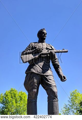 Monument To A Soldier, A Soldier With A Machine Gun, Defender Of The Motherland Of The Great Patriot