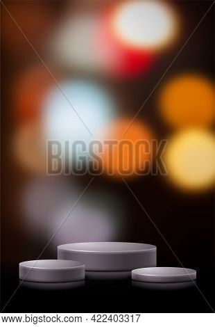 3d Scene With Product Display Podiums. Template For Product Advertising, Presentation And Promotion.