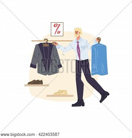 Vector Flat Cartoon Character On Shopping Sale - Discounts, Sales, Fashion, Emotions, Lifestyle, Soc