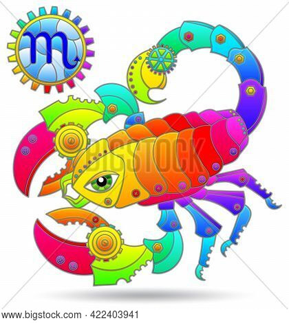 Illustration In The Style Of A Stained Glass Window With A Zodiac Signs Scorpio, Figure Isolated On