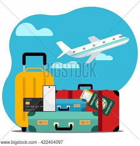 Traveler\'s Desktop With Suitcase, Camera, Plane Ticket, Passport, Compass And Binoculars, Travel An