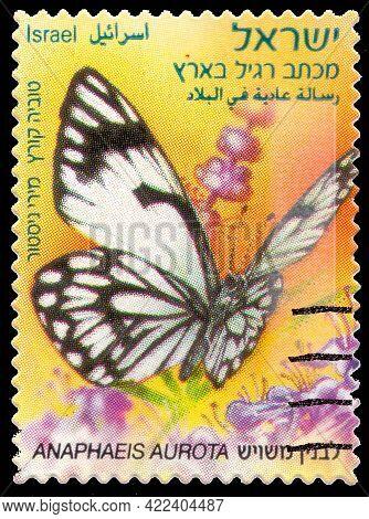 Israel-circa 2012: Postage Stamp Printed In Israel. Shows Butterfly Anaphaeis Aurota Living In Israe