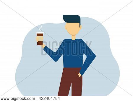 Young Man In A Sweater And Pants With A Paper Cup Of Coffee. Vector Illustration
