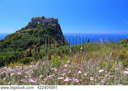 Corfu Island Landscape - Angelokastro Fortress. Byzantine Castle. Focus On Flowers In Foreground. Co