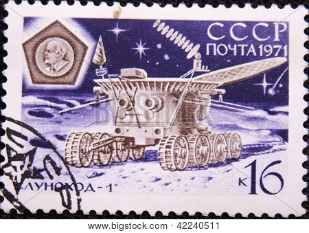 RUSSIA - CIRCA 1971: stamp printed by USSR shows Russian satellite