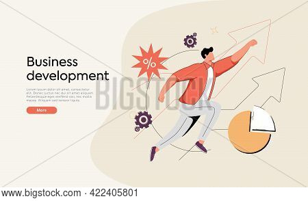 Businessman Running On Arrow Through Obstacles To His Goal. Business Developement, Career Success Or