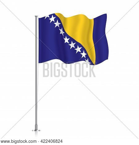 Bosnia-herzegovina Flag Waving On A Metallic Pole.