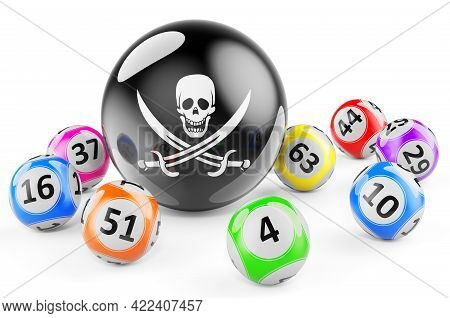 Lotto Balls With Piracy Black Flag. Illegal Lottery Concept, 3d Rendering Isolated On White Backgrou