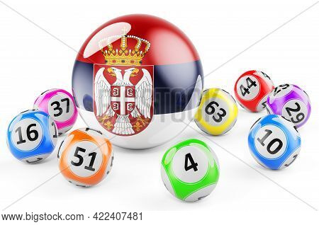 Lotto Balls With Serbian Flag. Lottery In Serbia Concept, 3d Rendering Isolated On White Background