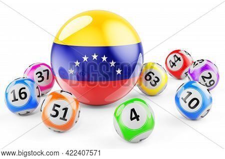 Lotto Balls With Venezuelan Flag. Lottery In Venezuela Concept, 3d Rendering Isolated On White Backg
