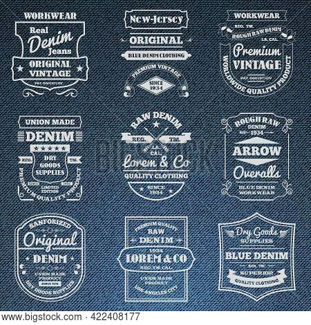 Classical Blue Denim Jeans Typography Logo Emblems Limited Edition Graphic Design Icons Collection A